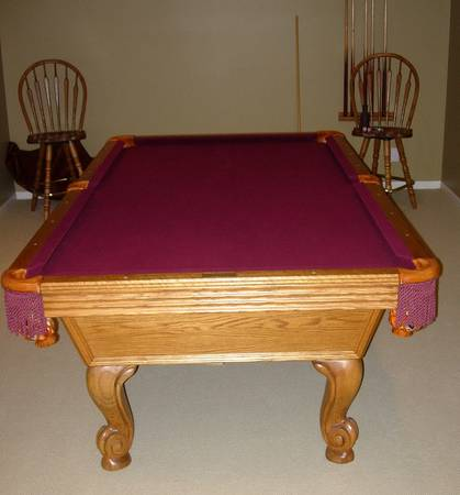 Photo 8 FOOT OLHAUSEN POOL TABLE WITH TWO POOL CHAIRS  ACCESSORIES - $2,500 (Lincoln)