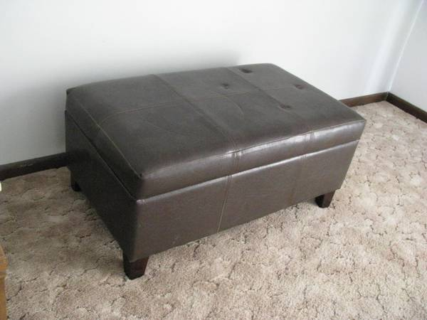 Photo Dark Brown Leather OTTOMAN with STORAGE Space - $70 (Lincoln)