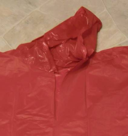 Photo Red Vinyl Poncho 44quot wide, 64quot long with Hood New - $4 (Lincoln)