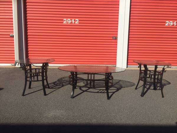 Photo 3 piece wrought iron and glass table set - $150 (Little rock)