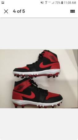 Photo New Nike Jordan 1 TD Mid  quotBredquot Football Cleats  Varsity Red - $65 (Bryant)