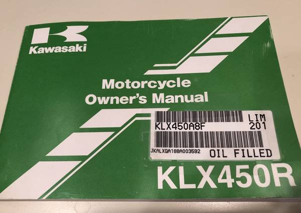 Photo 2008 KAWASAKI KLX450R MOTOCROSS MOTORCYCLE OWNERS MANUAL -KLX 450 R-KL - $50 (North Babylon)