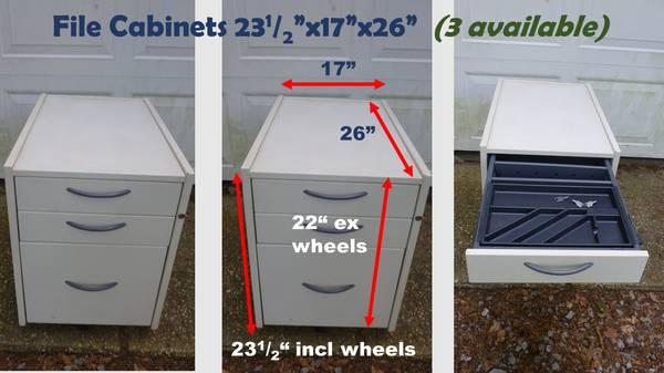 Photo Heavy Duty Wheeled File Cabinets (3 available) - $35 (Setauket)