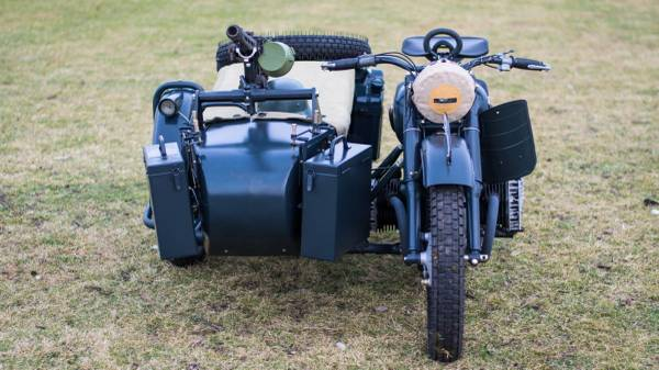 Photo M-72 Soviet wartime military motorcycle with the sidecar - $30,000