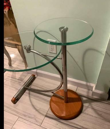 Photo Mid century modern retro sofa side end table coffee glass chrome metal base - $150 (Smithtown)