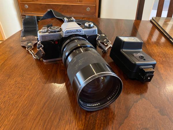 Photo Minolta XG1 35mm SLR Film Camera with Telephoto Lens and Flash - $100 (Patchogue)