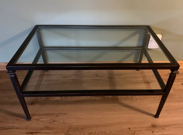 Photo Pier 1 Glass and Iron Coffee Table - $60 (Deer Park, Long Island)