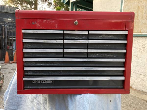 Photo 1980s Craftsman tool chest for Rollaway with key toolbox tool - $85 (San Fernando)