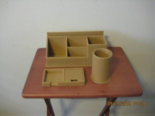 Photo 3 Piece Leather Desk Accessory Set - $30 (Woodland Hills)