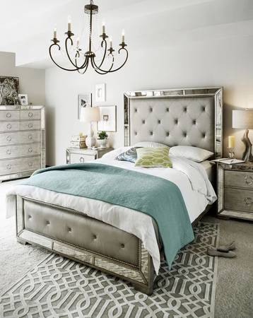 Photo Brand new Z gallerie AVA Queen bed unopened  Amazing mirrored bed - $580 (Los Angeles can deliver)