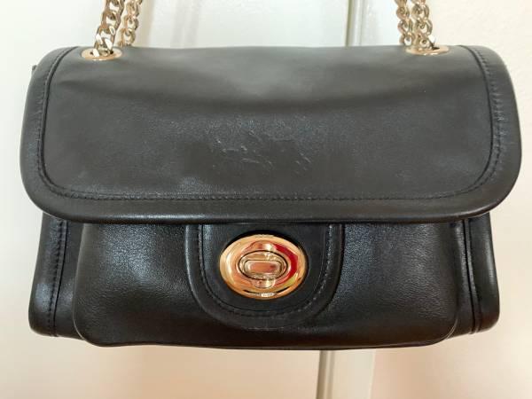 Photo Coach black leather shoulder bag - $200 (Glendale)