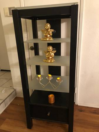 Photo Display shelving cabinet woodfrosted glass shelves espresso finish - $79 (Woodland Hills)