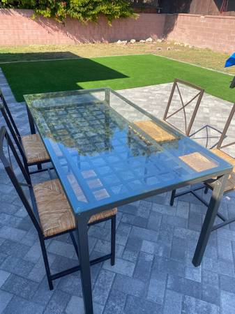 Photo IKEA 5 Piece Glass Metal Rattan Dining Set Table, 4 Chairs GREAT CONDITION - $125 (Lawndale)