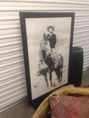 Photo Large JOHN WAYNE Framed POSTER ON A HORSE for CHEAP - $85 (West Los Angeles Venice Blvd)