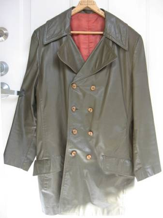 Photo Long leather jacket - olive green - $75 (West LA)