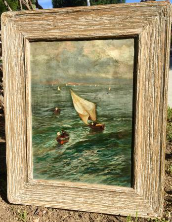 Photo Loveri (artist) Old Oil Painting Sail Boats-Rough Sea 21x17quotWood Frame - $99 (Woodland Hills)