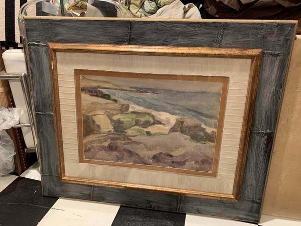 Photo Mid-Century Original Oil Seascape Painting Artist William Dier - $250 (REDONDO BEACH)
