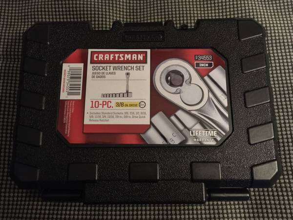 Photo NEW Craftsman 10 piece SAE 38 ratchet  socket set - $20 (Sunland)