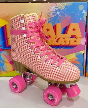 Photo New in box pink tartan plaid roller skates impala size 8-8.5 (Moxi too - $95 (Santa Monica)