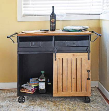 Photo Reclaimed Wood and Metal Rolling Storage Cart with Sliding Barn Door - $295 (Redondo Beach)