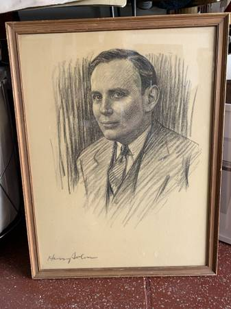 Photo Vintage Framed Original Sketch Portrait Warner Bros Executive - $140 (Redondo Beach)