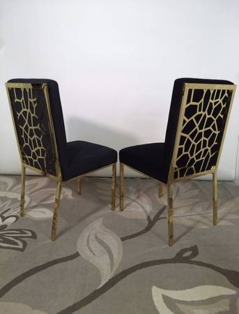 Photo Black velvet and gold metal chairs, accent or dining - $290