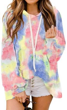 Photo Women Tie Dye Sweatshirt Long Sleeve Casual Drawstring Pullover Hoodie Tops with - $15 (Louisville)