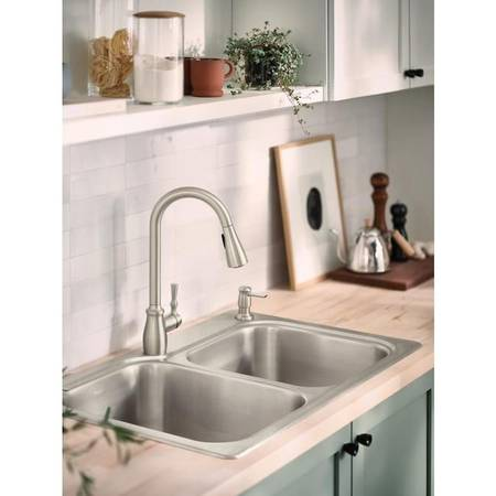 Photo New MOEN Stainless 1-Hole Pull-Down Kitchen Faucet wSoap Dispenser - $115 (OakvilleS.County)