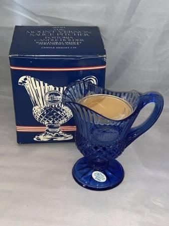 Photo AVON COLLECTIBLE-Mount Vernon Sauce PITCHER, Fostoria Candleholder - $7 (Lubbock)