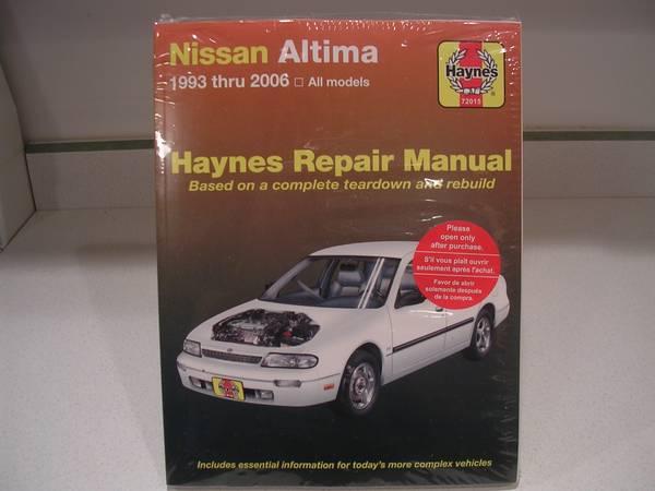 Photo Nissan Altima Haynes Repair Manual - 1993 -2006 models - $15 (lynchburg)