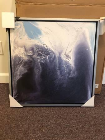 Photo Abstract Blue Wave Gel Coat Framed Canvas (Brand New) - $55 (Alpharetta)