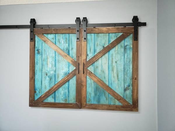Photo Sliding barn style cabinet doors - $100 (Warner Robins)