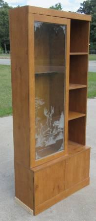 Photo gun cabinet storage hutting items  glass door - $50 (WARNER ROBINS)