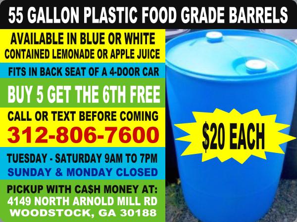 Food Grade HDPE Rain Barrels Drum Container 35 Gallon Plastic Barrels