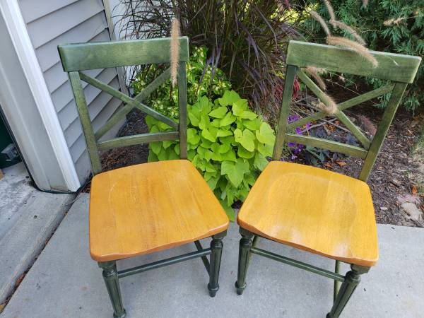 Photo 2 beautiful pier one solid wood chairs - $50 (McFarland)