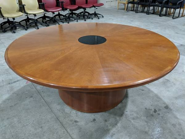 Photo 72 Round Cherry Conference Table Tables with Pop Up Power Module - $400 (Middleton)