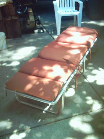 Photo Aluminum padded folding cing cot for sale. - $15 (Madison east side)