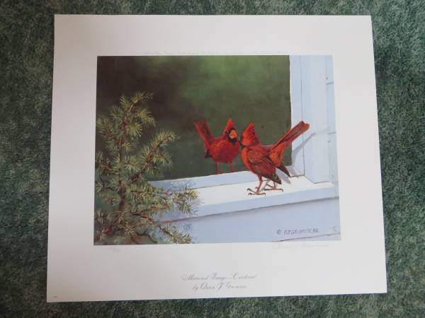 Photo Mirrored Image - Cardinal by Owen Gromme Print Signed  Numbered - $400