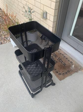 Photo Rolling Metal Storage Cart - $15 (Fitchburg)