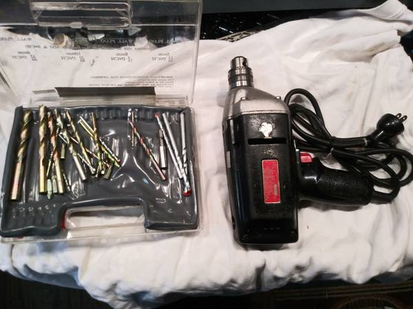 Photo Sears 38 inch electric drill w drill bits - $10 (Pardeeville)