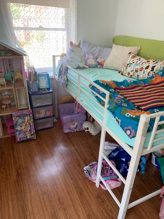 Photo (Special price $39) Twin Loft Bed with Slide - $39 (Madison)