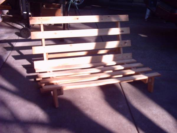 Photo Sturdy all pine wood full size futon frame for sale. - $40 (Madison east side)