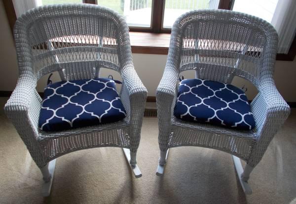 Photo 2 White Wicker Rocking Chairs Rockers wCushions $100 each - $100 (North Mankato)