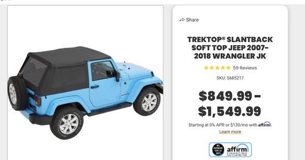 Photo Jeep Wrangler JK Bestop NX Soft Top (2 door) - $500 (New Ulm)