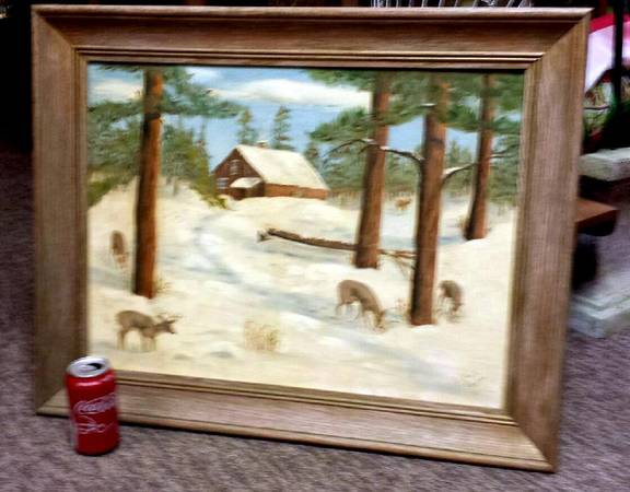 Photo SALE vintage Deer Painting 1958 Cabin theme 27 by 23quot - $49 (downtown St Peter MN)