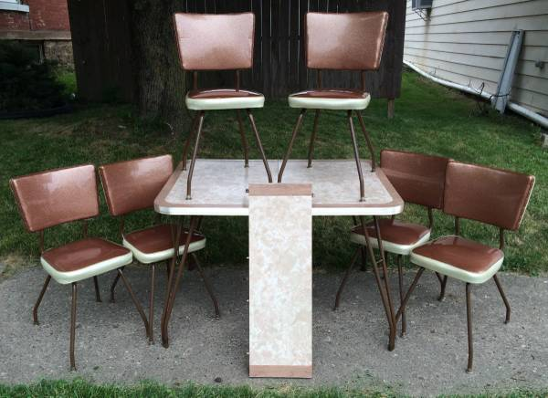1950s retro chrome kitchen table formica top 6 vinyl