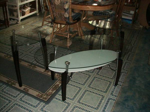 Photo Coaster Fine Furniture 3 Piece Glass Top Coffee  End Table Set, NEW (Mansfield)