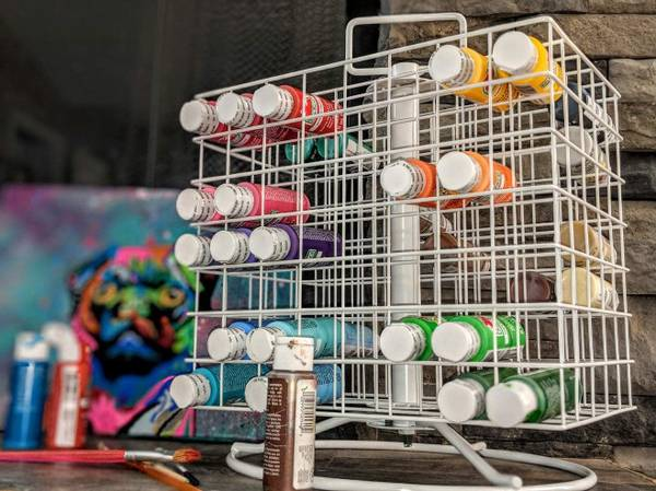 Photo 2 (two) Revolving Craft Paint Storage Rack For 112 2oz Acrylic Paints - $120 (Ranson)