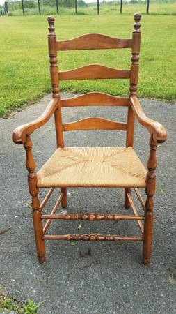 Photo Antique Ladder Back Chairs - $100 (Ranson)