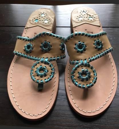 Photo Jack Rogers womens tan  blue sandals (size 6) - $45 (Arlington)